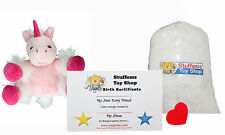 "DIY Stuffed Animal Kit 8"" Pink Unicorn Teddy Bear, No Sew Compatible w Webkinz"