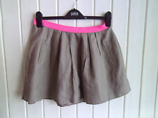 BNWOT - STONE COLOURED MINISKIRT WITH PINK WAISTBAND BY RIVER ISLAND - SIZE 10