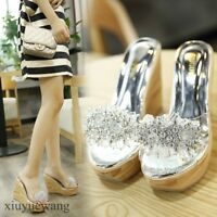 Womens Clear Transparent Open toe High Platform Wedge Heel Slippers Shoes Sandal