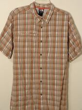 THE NORTH FACE SHORT SLEEVE BUTTON DOWN SHIRT MEN XL RUST/GREY