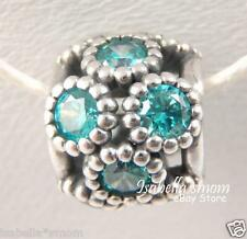 STUDDED LIGHTS Authentic PANDORA Silver/TEAL CZ ZIRCONIA Charm-Bead SUMMER New