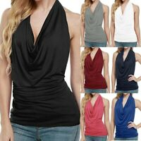 Women Lady Sexy Halter Drape Cowl Neck Tank Blouse Backless Sleeveless Vest Tops