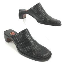 COLE HAAN Womens Shoe Sz US 8 AA Narrow 38.5 Black Leather Woven Slip On Mules