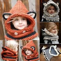Kinder Jungen Mädchen Winter Fuchs Beanie Warme Kappe Mit Kaputze Schal