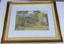 Unsigned Watercolour Garden Scene Framed