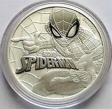 2017 Tuvalu Marvel Series Spiderman 1 oz .9999 Fine Silver Coin.