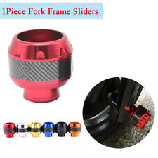Red CNC + Carbon Fiber Motorcycle Front Fork Frame Sliders Crash Fall Protecto