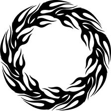 This is a circle flame, tribal, fire, die cut vinyl sticker or decal.