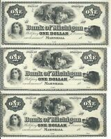 Group of 3 $1 Bank Of Michigan Banknotes 18XX Marshall  G2 Boy with cattle
