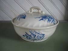 Antique Staffordshire Blue & White Transferware Round Soap Dish FLORAL