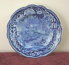 "CLEWS WEEPING WILLOW BORDER BLUE PLATE ORIENTAL CHINESE PEKIN?8.75""STAFFORDSHIRE"