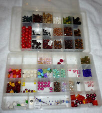 HUGE BEADS CONTAINER FULL COLORED WOOD VARIETY SPACER ESTATE BEAD LOT 100'S