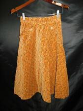 Vintage 70s Tiburce 38 XS Brown Orange Floral Velour Skirt A Line Midi Soft