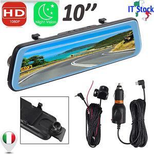 Specchietto Retrovisore DVR Con Telecamera + Full HD 1080P 10pollici Touchscreen