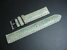 18 mm Teal Green and Beige Tan Zig Zag Pattern Leather Watch Strap band BLOWOUT!