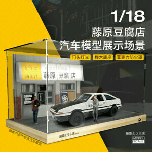 1:18 Initial D Fujiwara Tofu Shop Scene LED Display Case Dustproof with No Car