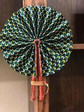 *Portable* Sewa African Ankara Print Pattern Folding Hand Fan l Home Decor