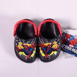 Size 4 Toddler Kid's Crocs FunLab Lights Light-Up Spiderman Clog Black