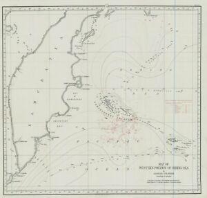 1901 Map of Western Portion of Bering Sea--Komandorski  Islands