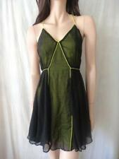 BARDOT Black With Fluro Green Sheer Top Sz 8