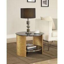 Jual Furnishings Retro Jf303 Round Lamp Side End Table in Oak With Black Glass