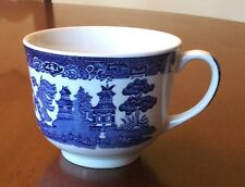 """JOHNSON BROTHERS BLUE WILLOW 2 5/8"""" Flat CUP TEA COFFEE ENGLAND EARTHENWARE"""