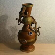 Vintage Surahi Copper & Brass Double Dragon Vase w/ Inlayed Glass Stones