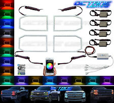 14-16 Chevy Silverado Multi-Color LED RGB SMD Headlight Halo Ring BLUETOOTH Set