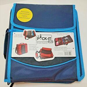 "Pock-It Plus Ultimate Organizer 4"" Zipper Binder w/Chromebook Case Navy/Lt Blue"