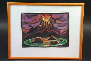 Ausbrechender Vulkan Mischtechnik signiert Erich WASKE (1889-1978) (BK4421)