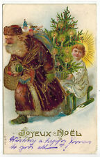 Antique Christmas Postcard Santa St. Nicholas Brown Robe Jesus Angel EMB 1907