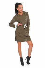 Women's Modern Hooded Mini Dress With Pockets Long Sleeve Tunic Size 8-12 FT1462