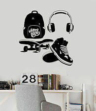 Vinyl Wall Decal Street Style Teen Room Headphones Skate Stickers (ig4536)