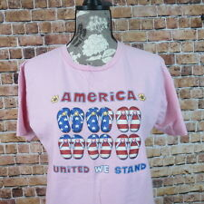 Woman T Shirt Size M Pink America United We Stand Flip Flop Sandals Flag