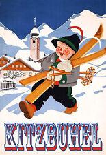 Art Ad   Kitzbuhel Skiing Ski   Travel  Deco  Poster Print
