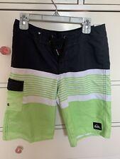Quiksilver Boys Kids Swim Trunks Lime Green Striped Surf Board Shorts Size 26