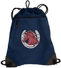 Horses Design Drawstring Bag Backpack MESH & MICROFIBER Draw String BAGS Backpac