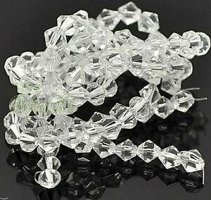 25 Perles en Verre Bicônique Rhombe Transparent 6mm de Cristal