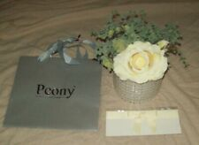 PEONY FAUX FLOWER ARRAGEMENT IN POT CREAM ROSE WITH FOLIAGE & GIFT BAG