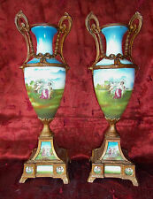 Antique French Sevres Style Vases Gilt Metal & Porcelain