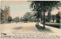 ELIZABETH NJ – Hand Colored Postcard of North Broad and Westminster Avenue – udb