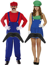 Mens Mario + Ladies Luigi Couples 80s Plumber Fancy Dress Costume + Moustache
