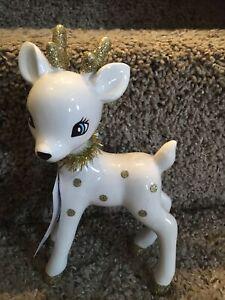 Target Wondershop Retro Reindeer deer Figurine Vintage Ceramic White NEW 8in