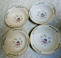4 International Stoneware Heartland Soup Cereal Bowls Farm House Scene
