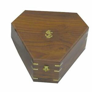Wooden box/Chest/Treasure chest - Sextantbox Brass Hinges-7 1/8 in - hexagon