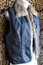 CAbi Navy Blue Lightly Quilted Open Vest Rabbit Fur Collar Trim Sz M Polyester