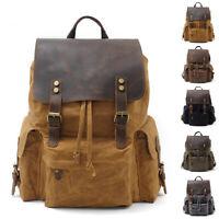 "Water Resisant Vintage Waxed Canvas Backpack Hiking Travel Bag 15"" Laptop Bag"
