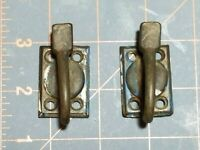 2 Vintage Metal Casement Ring Handle Window Sash Latch Lock