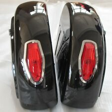 Black Saddle bag w/ Tail Light For Honda Shadow 600 750 VLX Valkyrie VT F VTX LN