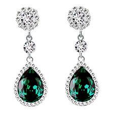 Long Fashion Emerald Green Ladies Earrings Silver Dangle Drop Shiny Women Studs
